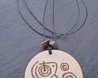 Pyrography necklace - British Rock Art Motif