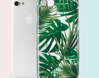 Tropical iPhone SE Case Leaves iPhone 6 Case Clear iPhone 7 Plus Case Banana Leaf iPhone 5s Case Hard Phone Case iPhone 7 Case Palm Tree 016