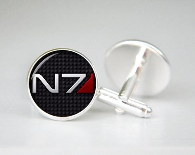 Mass Effect inspired cuff links, N7 symbol Cufflinks, Groomsmen Gift, Personalized Men Wedding Jewelry