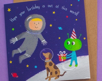 Retro Space Birthday Card