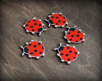Wooden painted brooch cute and lovely ladybug. Plywood. Red coloured. Bug.