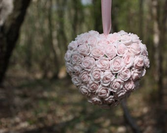 Pink flower heart, Heart decoration, Wedding decoration, Hanging heart, Foam flowers, 11cm