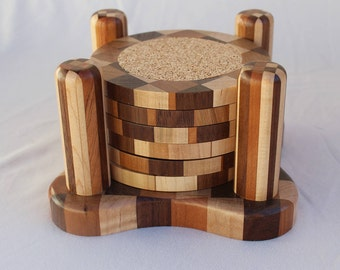 Wood Coaster Set (6 coasters) with 4-Post Wooden Base