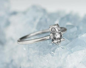 Sterling Silver Owl Ring Solid .925 Owl Rings Bird Custom Sizes