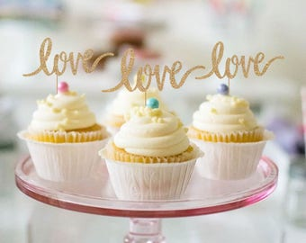 Love Cupcake Toppers - Set of 12 - for Engagement Party, Bridal, Wedding, Baby Shower, Birthday Party - Gold Glitter Cupcake Toppers
