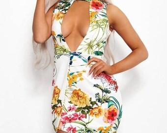 Lotus Floral Bodycon Dress