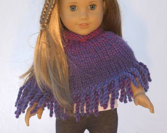 American Girl 18 inch doll poncho in blue, purple and pink ombre