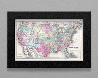 Instant Map Download - Antique UNITED STATES 1857 MAP - J.H. Colton - 300 dpi - U.S. Map with States U.S. America