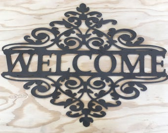 Scrollwork Welcome Sign