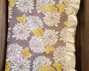 Floral Mar Bella Minky Baby Blanket for Nursery with satin ruffle, Baby Boy or Girl