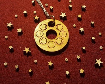 Moon Phases Wooden Necklace