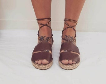 Boho Espradrilles // Handmade Spanish Leather Tie up Sandals // Womens size 8
