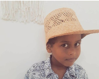 Vintage Straw Cap // Childs BOHO Beach Hat