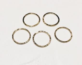 14K Yellow Gold Filled Hammered Circle