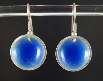 Concave earrings enameled on Silver 925