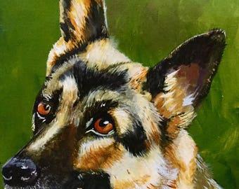 German Shepherd Giclee Fine  Art Reproduction from original acrylic