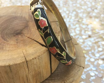 60s Hand Painted Enamel Floral Bangle Bracelet
