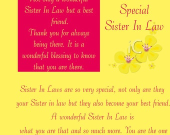 Sister in Law Birthday Card with removable laminate