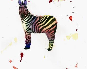 8 X 10 Zebra Art Print | Wildlife Original Art | Kids Room Wall Decor | Nursery Decor | Baby Room Art | Rainbow Animal Art
