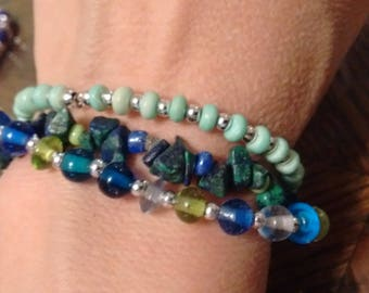 Blue-green bracelet set