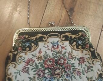 Vintage 70's hand stitched floral handbag