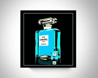 Chanel Perfume Bottle Art, Print or Canvas, Chanel Blue Room Decor, Chanel Fan Gift, Feminine Art, Chanel Picture, Chanel Lover Wall Decor