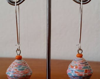 Apricot, round tapered, paper bead earrings