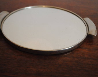 round top with mirror Shabby french Circular Mirror Drink Tray with Metal Handles 1950