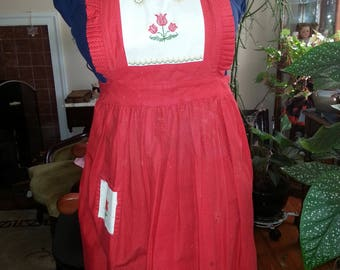 Red polka dot apron with red tulips, cross stitch