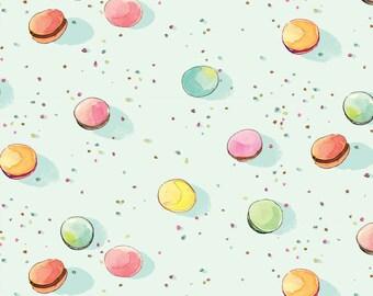 Dot Macarons, pink and aqua, from Colette range by Brenda Walton blend fabrics