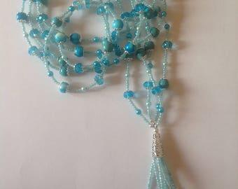 Long Turquoise necklace long necklace flapper necklace tassel necklace beaded necklace handmade necklace