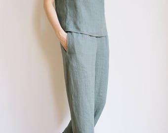 Sage green linen pants / Linen pajamas pants / Womens pajamas