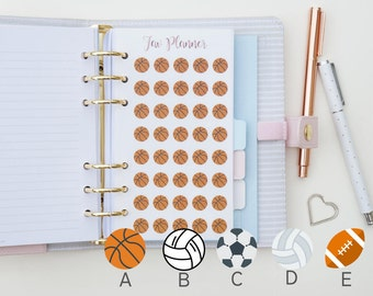 40 Mini Ball Sport ( Basketball / Netball / Soccer / Volleyball / Football ) Stickers. Planner Stickers for Kikki K, Erin Condren and others