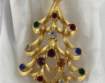 Sparkling Monet Goldtone Rhinestone Christmas Tree Brooch / Pin