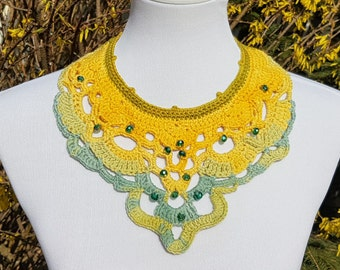 Crochet Chandelier Necklace with Glas Beads - Handmade