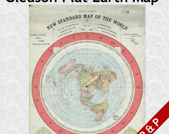 Flat Earth Map - Gleason's New Standard Map of the World 1892 - A1 195gsm Silk Poster Paper