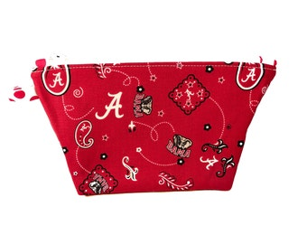 University of Alabama Make-Up Bag with Waterproof Lining / Cosmetic Bag / Accessories / Jewelry / Cords / Graduation Gift / Sorority Sister