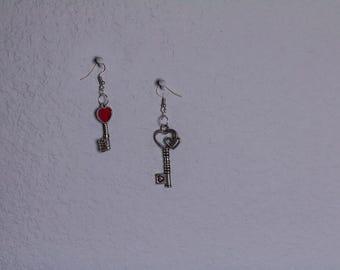 Heart Key Antique Silver Earrings