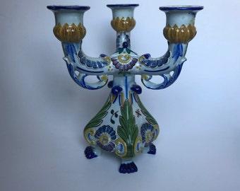 Vintage Portuguese Painted Ceramic Candelabra