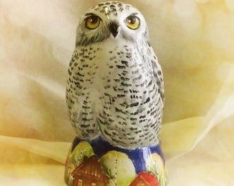 CUSTOM ceramic owl figure - white pottery owl - polar owl - owl decor - Made to Order