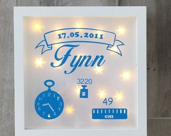 illuminated picture frame, night light, to the birth or baptism gift