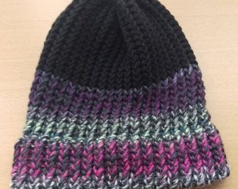 Colorblock Knit Beanie Hat