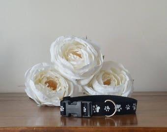Small Custom Dog Collar - Black with white Paw Prints
