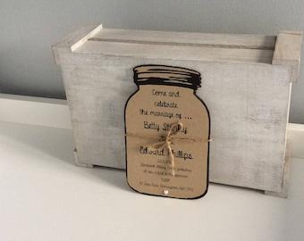 Personalised Vintage Mason Jar Wedding Invitation, RSVP and Wedding Wish