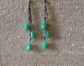 Waterfall Earrings (Gunmetal and teal)