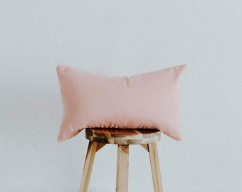"Blush Linen Throw Pillow Cover 14x22 Lumbar Contemprary Collection ""Elda Rose"""