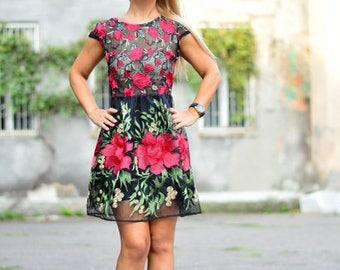 Lace Flower Black Dress