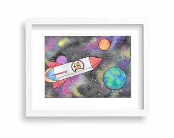 Rocket Cat in OuterSpace 8x10 Watercolor for Nursery or Kid's Room