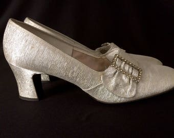 Sparkling silver shoes with rhinestone buckles, Red Cross Shoes, sz 8