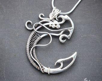Dragon necklace // Dragon pendant // Dragon pendant necklace // Wire wrapped dragon necklace pendant // Futuristic necklace pendant